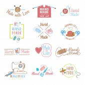 Handmade logo vector wool knitting needles or sewing handcraft hobby workshop logotype illustration set of crocheting woolly knitwear and handknitting needlework label isolated on white background. poster
