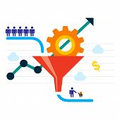 Conversion Optimization - vector illustration. Visitors enter the sales funnel. Sales Funnel and growth chart. Conversion rate optimization banner in flat style. Internet marketing conversion concept. poster