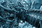Gas turbine engine of feed gas compressor located inside pressurized enclosure, The gas turbine engine used in offshore oil and gas central processing platform. Technological ecological installation poster
