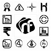 Set Of 13 simple editable icons such as nf, chemical, choking hazard, punk anarchy, copper, radium, rupees, copyright, thorium can be used for mobile, web UI poster