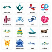 Set Of 16 simple editable icons such as metallurgy, church, astronaut helmet, lynx, wood carving, powerlifting, qatar national day, carnaval, camera can be used for mobile, web UI poster