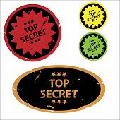 Set of colorful top secret grunge stickers or rubber stamps poster