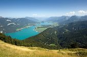 View from the zwolferhorn mountain towards the wolfgangsee in Austria poster