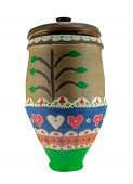 Colorful Egyptian handcrafted decorated artistic pottery jar isolated on white poster