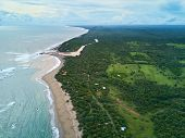 Pacific coast in Nicaragua aerial view. Ocean coastline above drone view poster