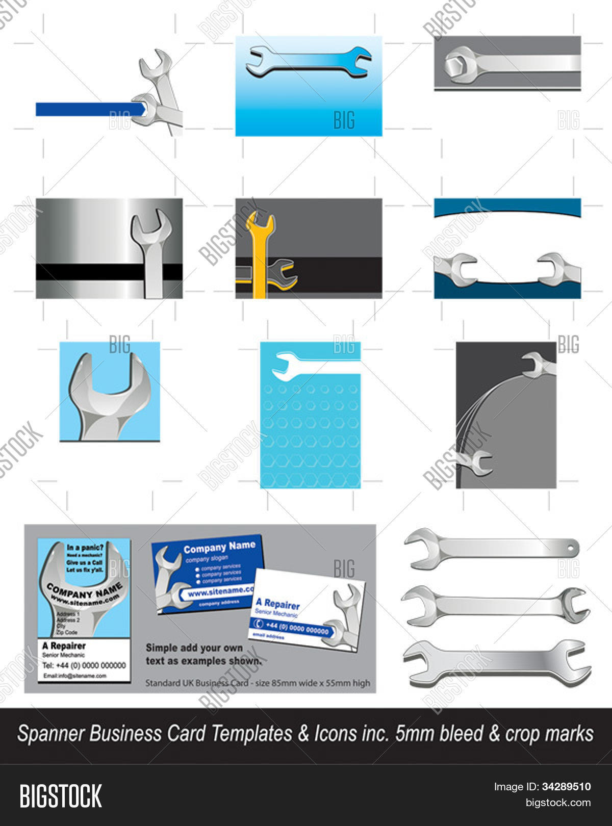 Spanner tool business card vector photo bigstock spanner tool business card templates artwork ready with 5mm bleed and crop marks simply reheart Image collections