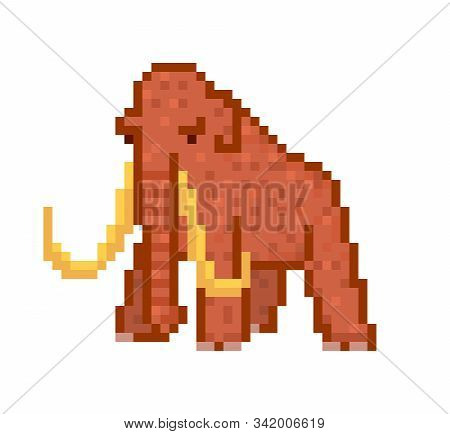 Huge Brown Woolly Mammoth With Tusks, 8 Bit Pixel Art Character Isolated On White Background. Prehis