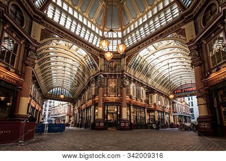 London, Uk - October 18, 2019: View Of The Leadenhall Market Interior In The City Of London.