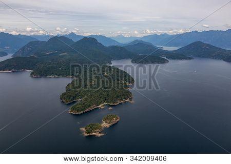 Keats Island, Sunshine Coast, British Columbia, Canada. Aerial View Of A Islands In Howe Sound Durin