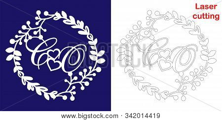 Wedding Monogram For Laser Cutting. C O Initials Of The Wedding Decorative Logo In A Floral Frame. T