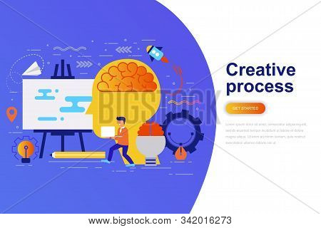 Creative Process Modern Flat Concept Web Banner With Decorated Small People Character. Landing Page
