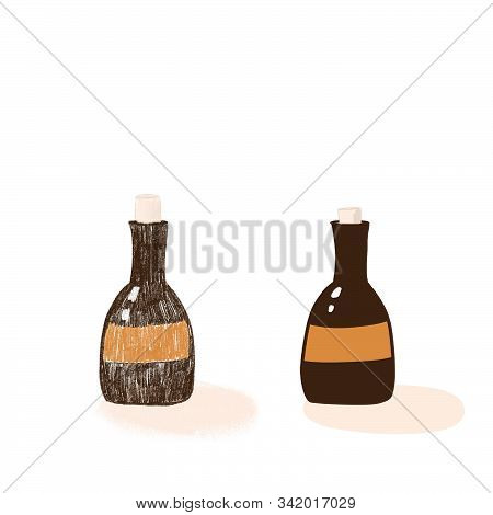 Two Happy Cartoon Different Bottles Of Beer Cut Out