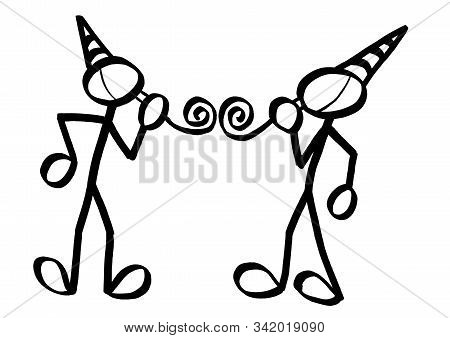 Drawing Of Two Standing Stick Figures Facing Each Other Blowing Into Party Horns. Hand Drawn Illustr