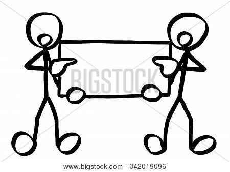 Drawing Of Two Standing Stick Figures Finger Pointing At Empty Copy Space On A White Board They Are