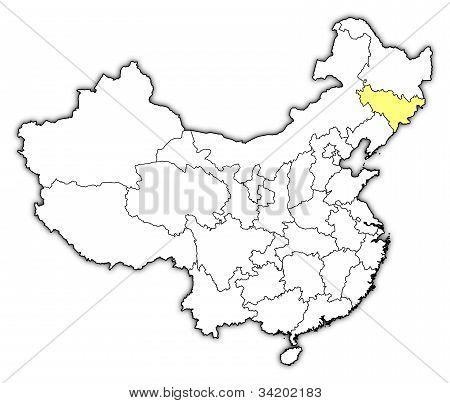 Map Of China, Jilin Highlighted