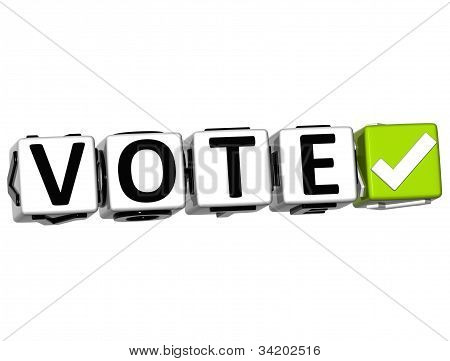 3D Vote Button Click Here Block Text