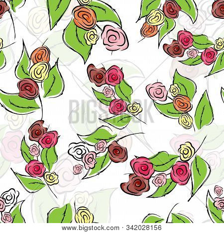 Seamless Flower Rose Pattern. Texture Background. Vector Seamless Vintage Floral Pattern. Vintage Ab