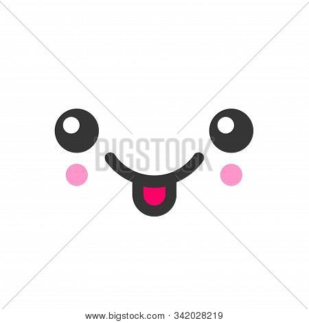Tease With Tongue Kawaii Cute Emotion Face, Emoticon Vector Icon