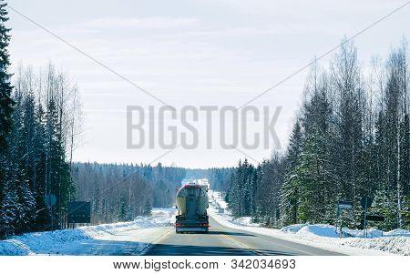 Truck In Snowy Winter Driveway Of Finland Reflex
