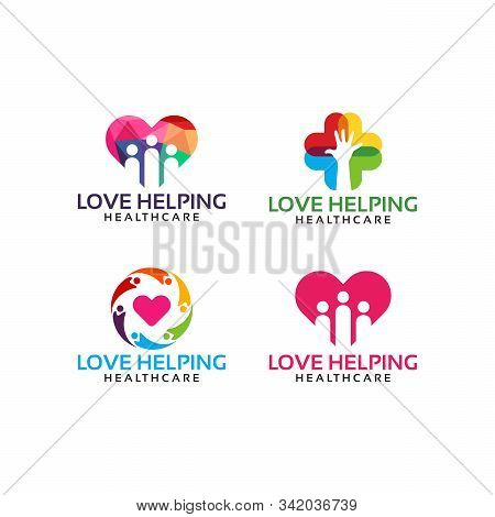 Set Of Love Helping Logo Template Designs Vector Illustration, People Charity Logo Designs Template