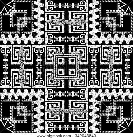 Textured Stippled Greek Vector Seamless Pattern. Black And White Grunge Tribal Ethnic Background. Gr