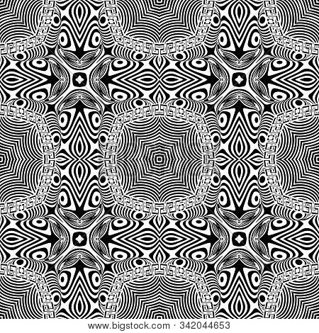 Abstract Black And White Striped Vector Seamless Pattern. Modern Intricate Ornamental Background. Wa