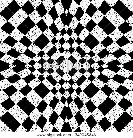 Textured Black And White Geometric Vector Seamless Pattern. Grunge Stippled Checkered Background Wit