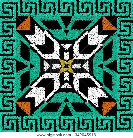 Textured Stippled Grunge Colorful Greek Seamless Pattern. Vector Ornamental Geometric Tribal Backgro