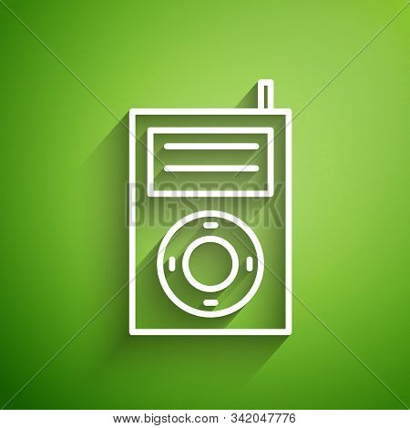White Line Music Mp3 Player Icon Isolated On Green Background. Portable Music Device. Vector Illustr