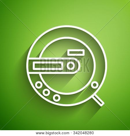 White Line Music Cd Player Icon Isolated On Green Background. Portable Music Device. Vector Illustra