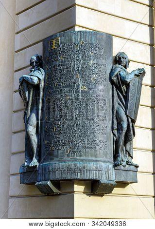 Prague, Czech Republic - September 12, 2019:  Commemorative Plaque Of The Czechoslovakia Revolution