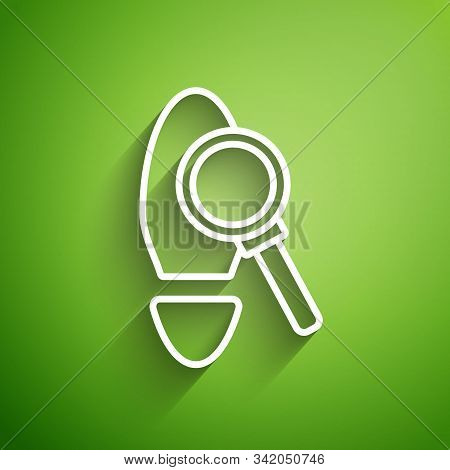 White Line Magnifying Glass With Footsteps Icon Isolated On Green Background. Detective Is Investiga