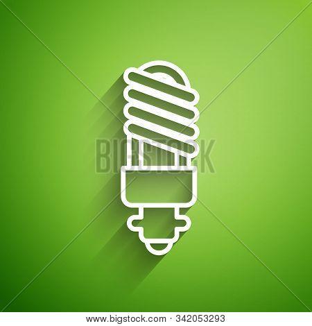 White Line Led Light Bulb Icon Isolated On Green Background. Economical Led Illuminated Lightbulb. S