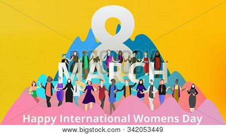Portrait Of Modern Society Female, 8 March International Women's Day, Various Variations Of Lady's,