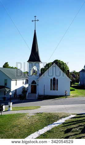 Mackinac Island, Michigan / United States - June 11, 2018:: The Trinity Episcopal Church Offers Wors