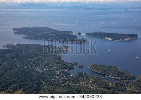 Sunshine Coast, British Columbia, Canada. Aerial View Of Thormanby Island, Smuggler Cove And Secret