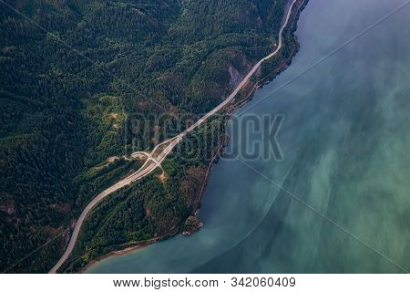 Howe Sound, North Of Vancouver, British Columbia, Canada. Aerial View From Above Of A Scenic Highway