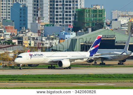 Saigon, Vietnam - Jun 10, 2019. Latam Brasil Airbus A350-900 Taxiing On Runway Of Tan Son Nhat Airpo