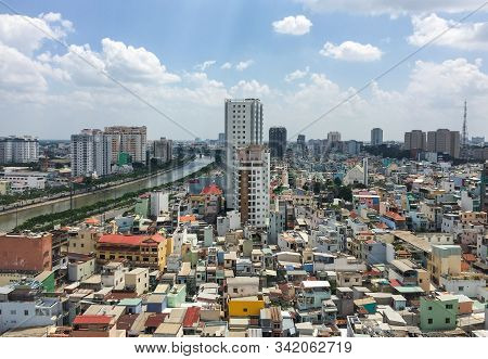 Saigon, Vietnam - Aug 30, 2015. Aerial View Of Saigon (ho Chi Minh), Vietnam. Saigon Is The Financia
