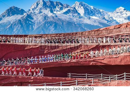 Impression Of Lijiang (china Outdoor Theatre) Against Jade Dragon Snow Mountain, Is A Performance De