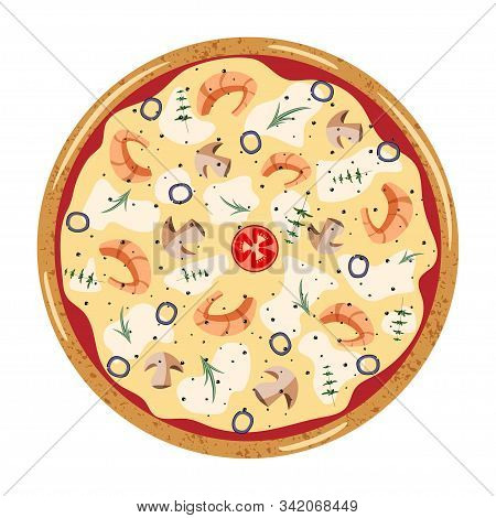 Seafood Whole Pizza Top View With Different Ingredients: Mushroom, Olive, Shrimp, Tomato, Oregano, R