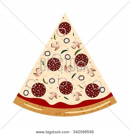 Pepperoni Slice Pizza Top View With Different Ingredients: Salami, Mushroom, Shallot, Olive, Chili P