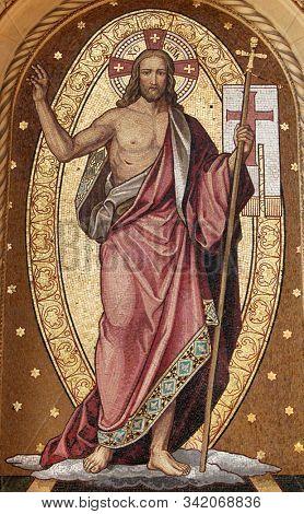 ZAGREB, CROATIA - OCTOBER 28: Resurrection of Christ, mosaic, Mirogoj cemetery in Zagreb, Croatia on October 28, 2013.