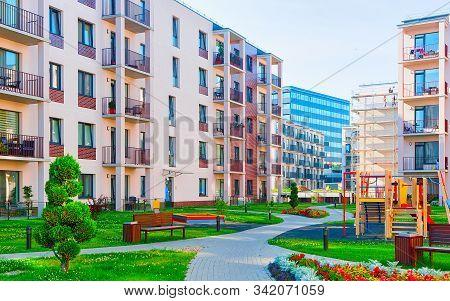 Modern Apartment Residential Building Children Playground Reflex