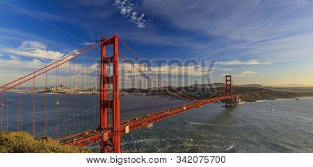Panorama Of The Golden Gate Bridge At Sunset With The Marin Headlands In The Foreground, San Francis