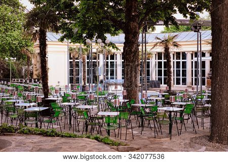 Open Air Typical Street Cafe Veranda In Vienna In Austria