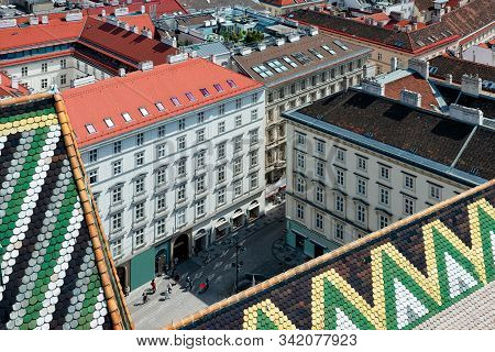 Panoramic Aerial View From Stephansdom On Old City Of Vienna