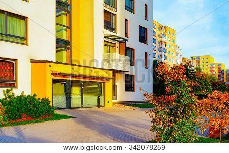 Entrance Door Into Apartment Residential Modern House Building Exterior Reflex