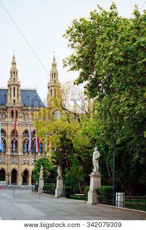 Vienna City Hall And Park At Rathausplatz In Vienna Austria