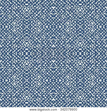 Gloss Ikat Handmade Vector Seamless Pattern. Cobalt Textile Ikat Indian Print. Cobalt Stripe Tribal